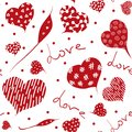 Seamless hand drawn pattern with hearts. Vector love illustration.