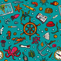 Seamless hand-drawn pattern. Marine theme. Sea inhabitants, plants, and shipboard equipment on a bright blue background
