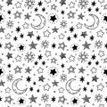 Seamless hand drawn stars. Starry sky sketch, doodle star and night vector pattern illustration