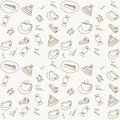 Seamless hand drawn tea time pattern Stock Photography