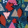 Seamless hand drawn triangle abstract with feminine childish drawing style pattern. Creative textile background for print and fash
