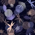 Seamless Hand Drawn tropical silhouette exotic leaves Pattern