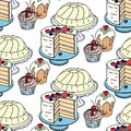 Seamless hand drawn vector pattern. Cakes and cupcakes on a blue background
