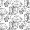 Seamless hand drawn vector pattern. Cakes and cupcakes on a white background