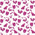 Seamless hand drawn watercolor pattern of sprigs pink currant with bunch of berries on white background.