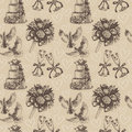 Seamless hand drawn wedding pattern in retro style Stock Photos