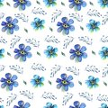 Seamless hand painting Watercolor pattern with blue forget-me-nots flowers on a white background