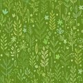 Seamless hands drawn spring pattern with grass and Royalty Free Stock Photo
