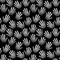 Seamless hands palms black and white background Royalty Free Stock Photo