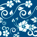 Seamless Hawaiian - Blue Stock Photo