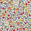 Seamless healthy food pattern vector doodle illustration Stock Image