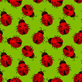 Seamless Heart Ladybugs Background Stock Images