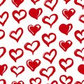 Seamless heart pattern. Hand drawn with ink. Red and white. Love concept. Heart pattern for printables, scrapbooking