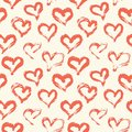 Hand drawn painted hearts seamless pattern.pink hearts on black background.ink illustration.ornament for Valentine`s day