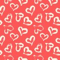 Seamless heart pattern. Hand painted ink brush