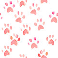 Seamless heart paws traces watercolor pattern
