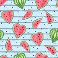 Seamless heart shaped watermelon pattern