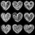 Seamless hearts chalkboard love background and texture pattern with Stock Images