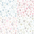 Seamless hearts fifties retro stroke design pattern different colors Royalty Free Stock Photo