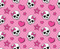 Seamless with hearts and skulls Stock Photo