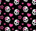 Seamless with hearts and skulls Stock Photography