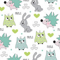 Seamless hedgehog, bunny, owl pattern vector illustration Royalty Free Stock Photo