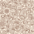 Seamless Henna Paisley Flowers Pattern Vector Illu Royalty Free Stock Photo