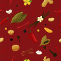 Seamless herbs pattern with seasoning and spices elements. Vector food texture.
