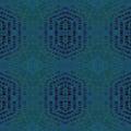 Seamless hexagon and diamond pattern dark blue gray green