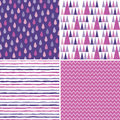 Seamless hipster background patterns purple magenta pink Royalty Free Stock Photo