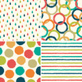 Seamless hipster background patterns in retro colors set of four Royalty Free Stock Photography