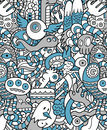 Seamless hipster doodle monster pattern of collage Stock Image