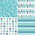 Seamless hipster geometric patterns in aqua blue and gray Royalty Free Stock Photo