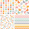 Seamless hipster pattern set orange pink gray Royalty Free Stock Photo