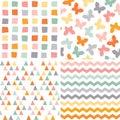 Seamless hipster pattern set orange pink gray Royalty Free Stock Photo