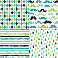 Title: Seamless hipster patterns in blues and greens