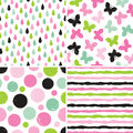 Title: Seamless hipster patterns for girls in pink and green