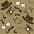 Seamless hipster s icons background with hipsters glasses hat horn camera pipe Royalty Free Stock Photography