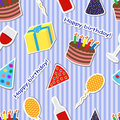 Seamless holiday background striped with a birthday cake presents balloons and caps Stock Photo