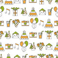 Seamless holiday pattern, happy birthday, festive background Royalty Free Stock Photo