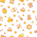 Seamless honey pattern with stroked beekeeping signs