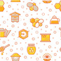 Seamless honey pattern with stroked honey bees, bee cells, beehives and beekeeping signs.