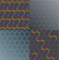 Seamless honeycomb pattern set. Vector. Royalty Free Stock Photo