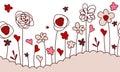 Seamless horizontal border with stylized flowers Royalty Free Stock Photo