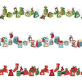 Seamless horizontal pattern brush with Christmas Royalty Free Stock Photo