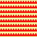Seamless horizontal striped pattern. Repeated red embattled lines on yellow background. Heraldry motif. Abstract Royalty Free Stock Photo