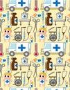 Seamless hospital pattern Royalty Free Stock Photos