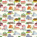 Seamless house pattern Royalty Free Stock Photos