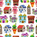 Seamless house pattern Stock Photo