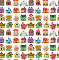 Seamless house pattern cartoon vector illustration Stock Photos